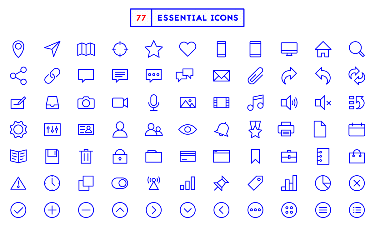 77 essential icons  u2014 free icon set on behance
