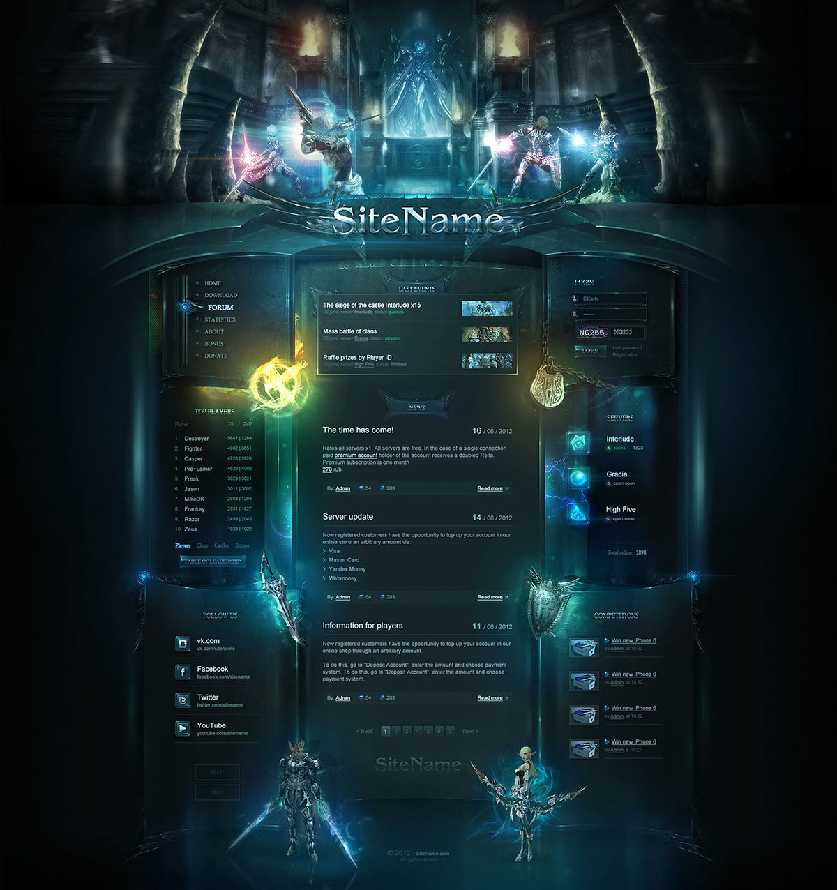 high fantasy website template on behance