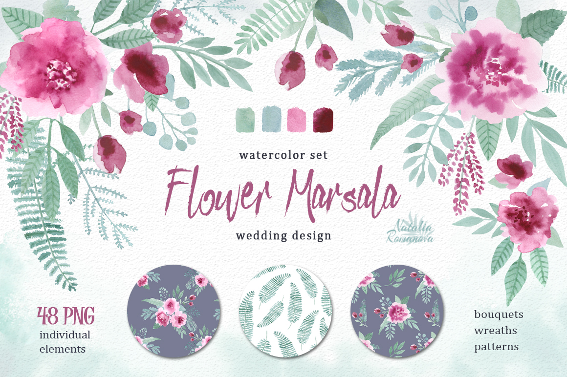 Watercolor floral marsala on Behance