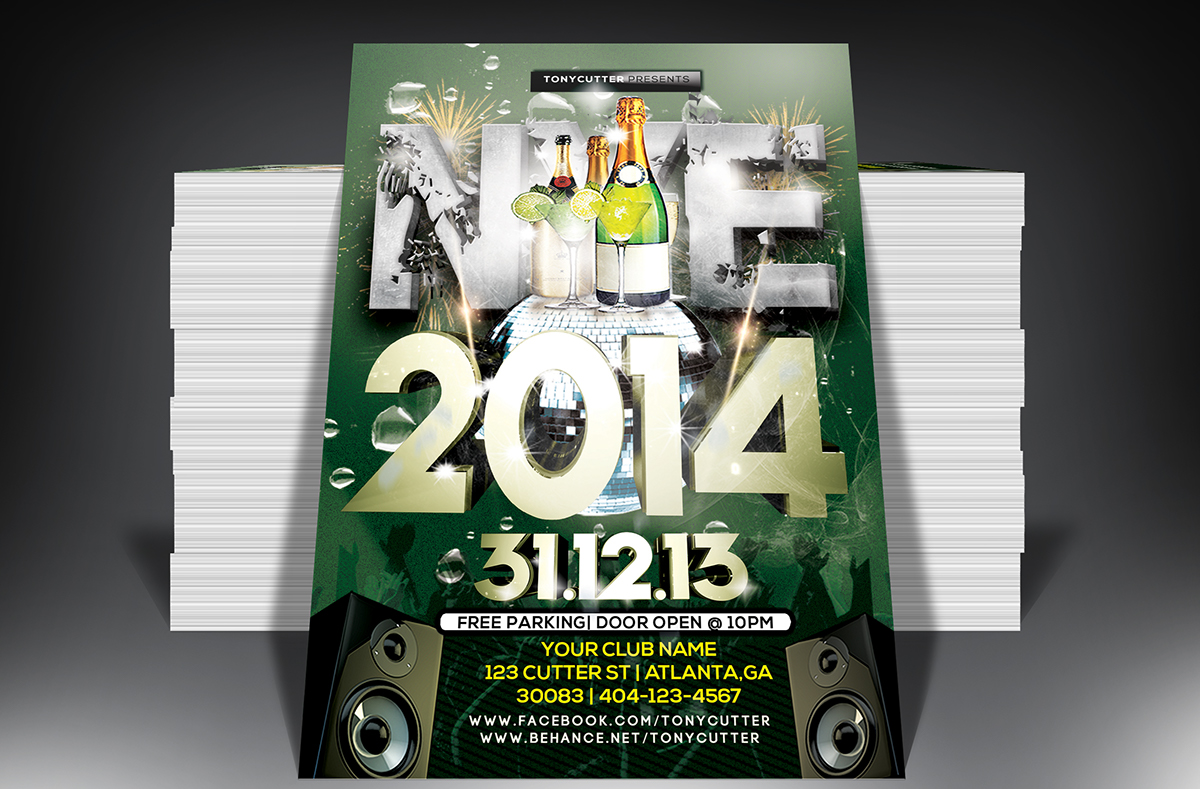 free happy new year psd party flyer template on behance