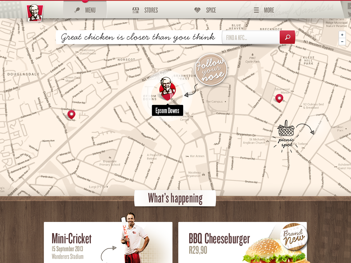 The Map Was Styled To Warmer Colours Of KFC Palette Closest Store Would Be Identified First And Users Could Either Click On Thumbnail
