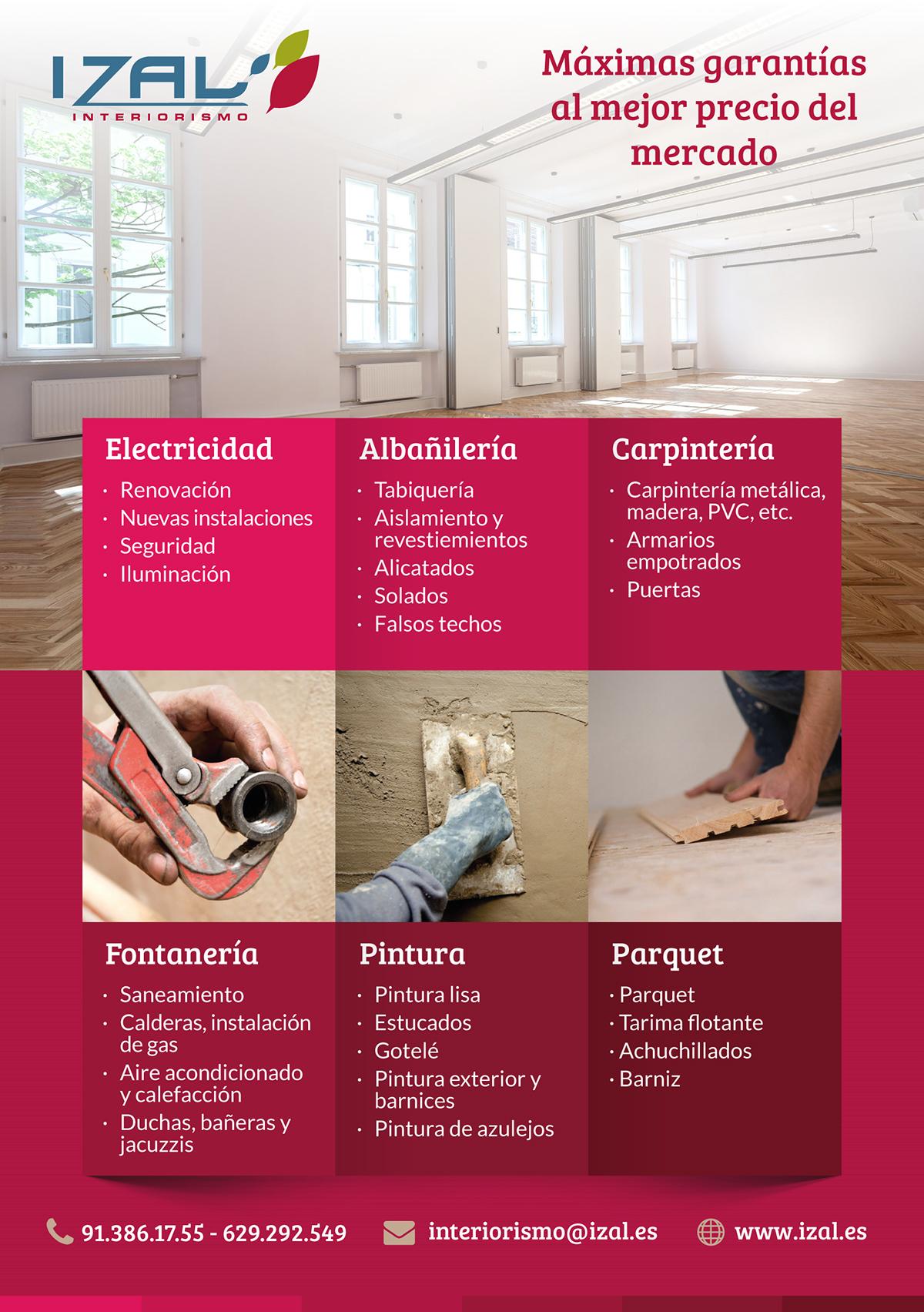 flyer Izal Interiorismo interiorism Reformas Reforms construccion building