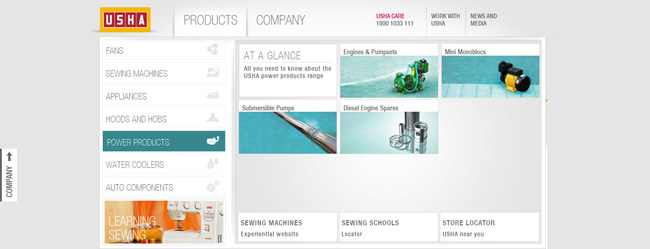 corporate website HTML cms usha India