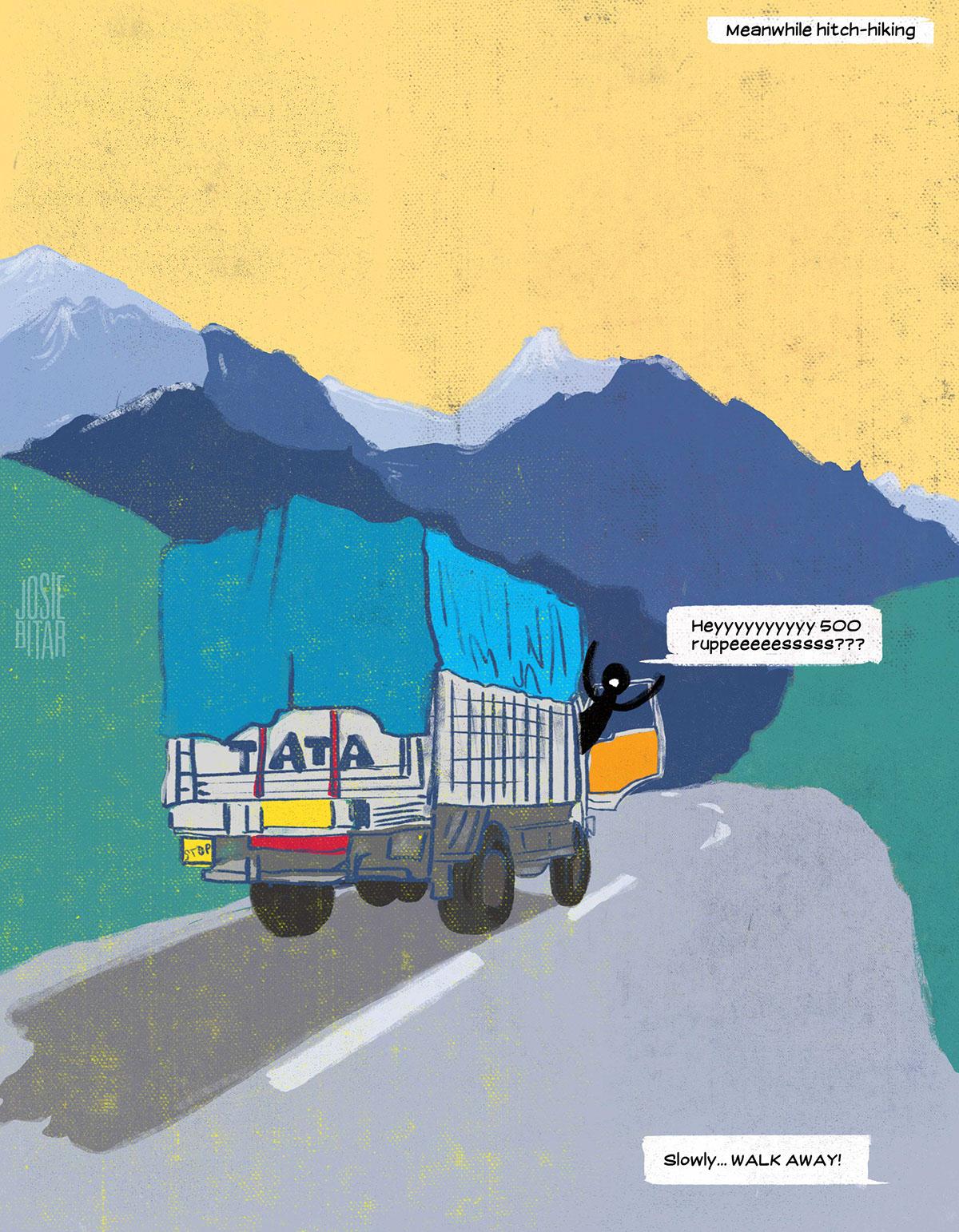 Unusual funny comics ironic dramatic disastrous Encounters Travel India trekking train hitchhiking elephant rain flood