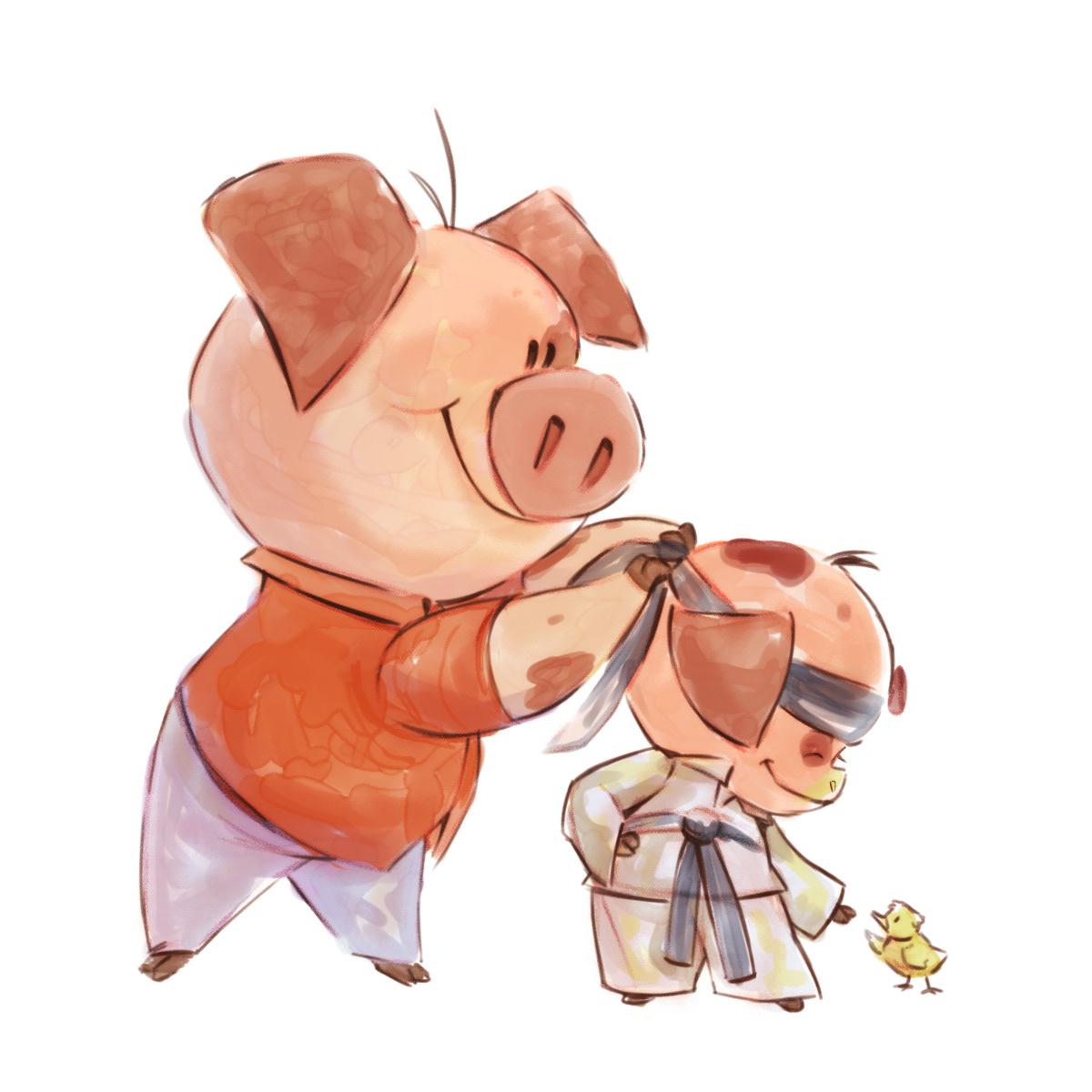 pig sketch ILLUSTRATION  2D digital cute cartoon small kid children's
