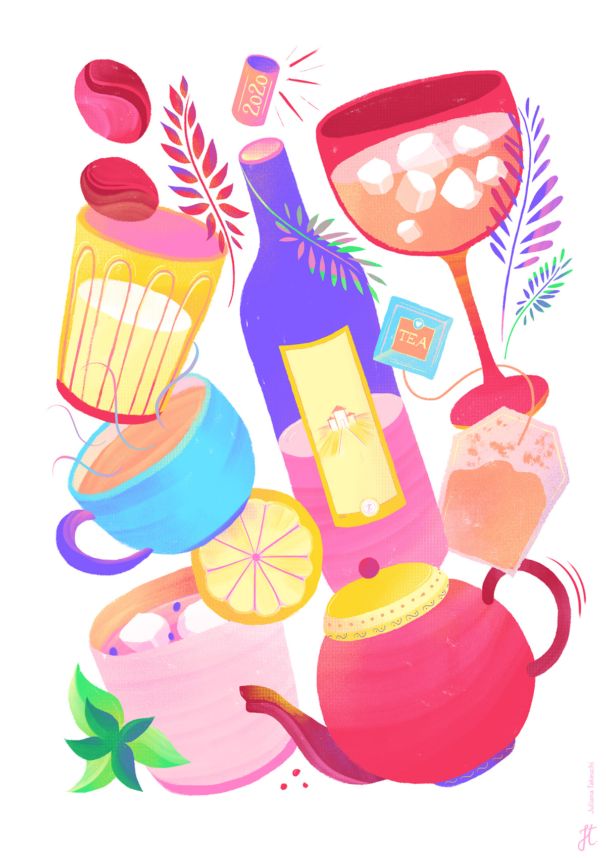 brushes color Digital Art  draw Food  Icon ILLUSTRATION  lettering pattern texture