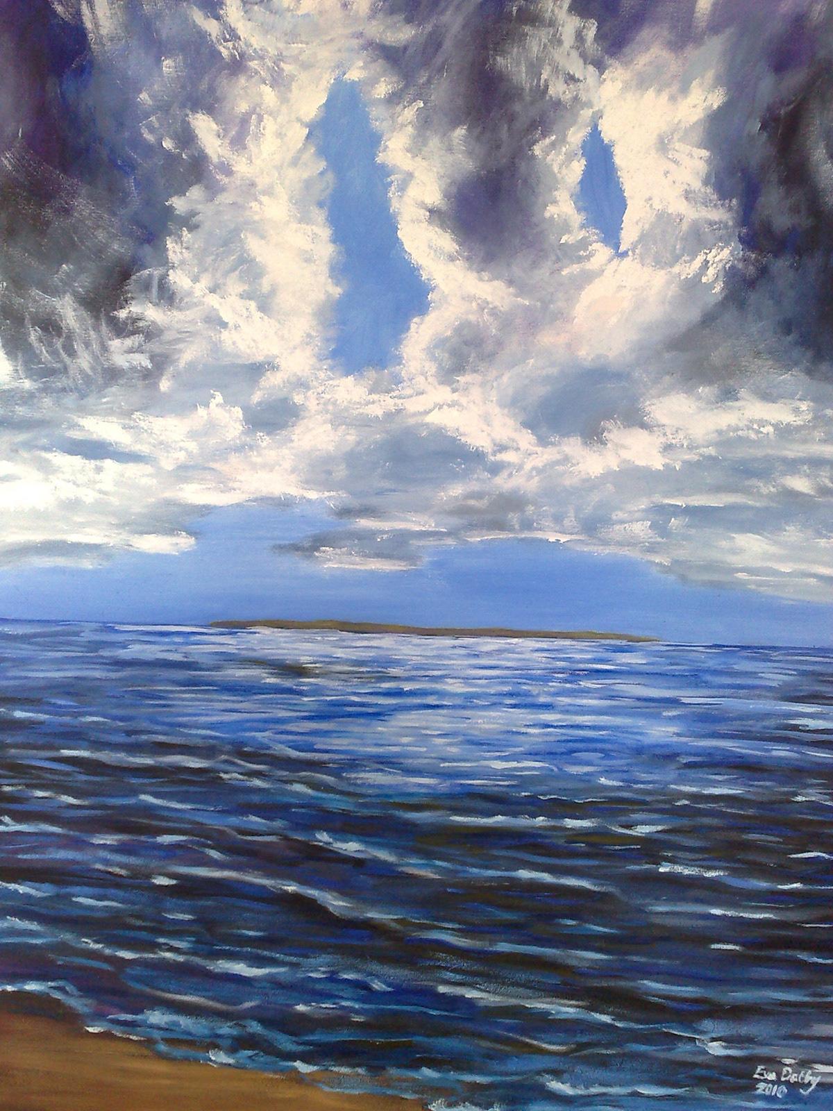 fine art oil sea beache öresund helsingborg RAA ven sverige danmark klassisk konst