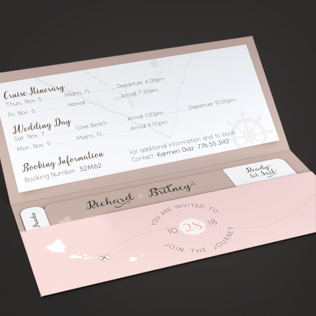 Pinky Wedding Boarding Pass Invitation Template On Behance
