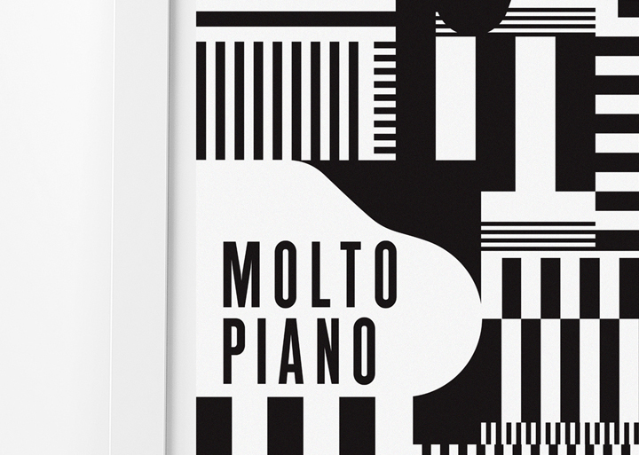 print black white abstract jazz poster brochure Piano minimal geometric Playful modern condensed festival simplistic Pianist