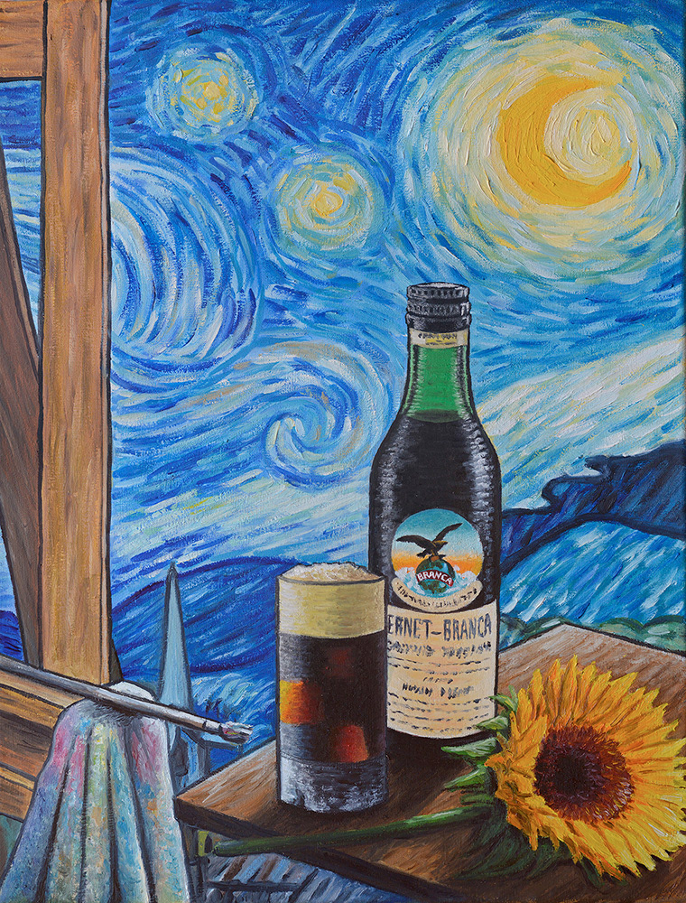 Image may contain: bottle, drink and painting