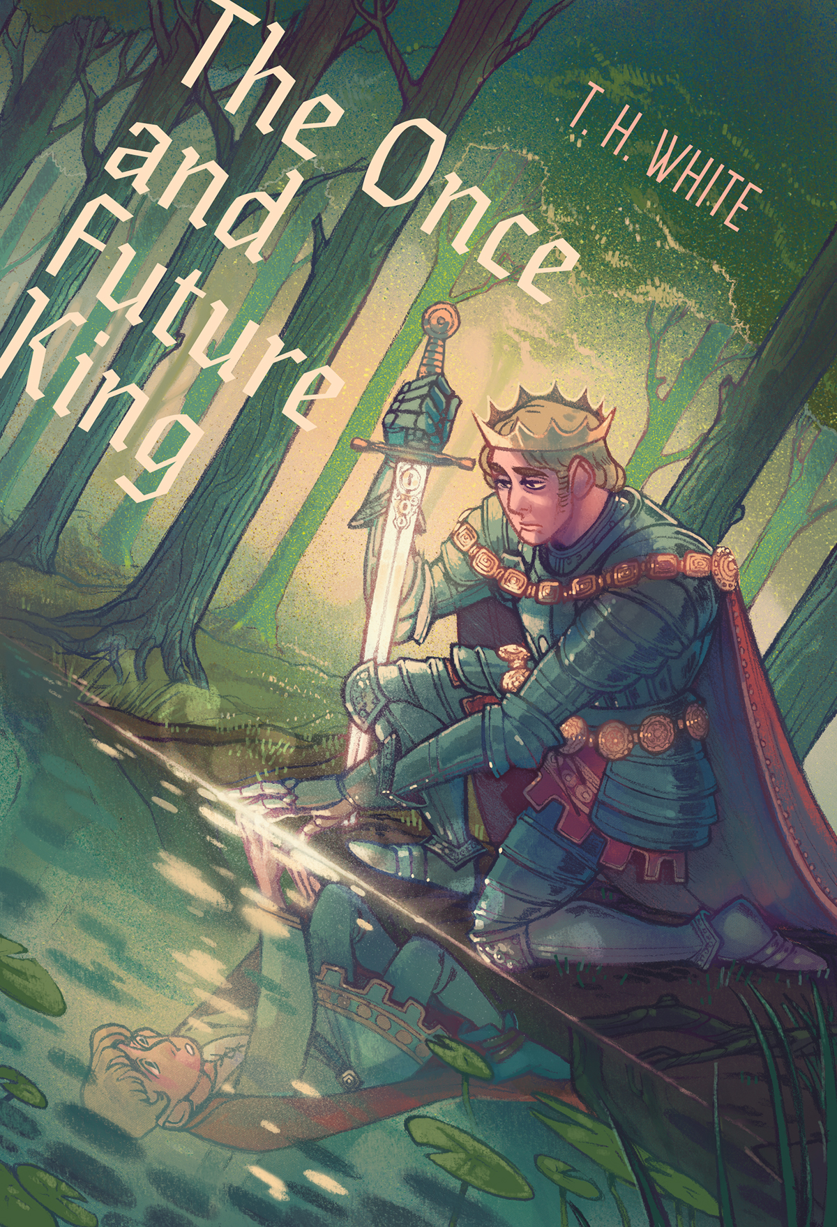 Illustrated Book Cover Photo ~ The once and future king illustrated book cover on behance