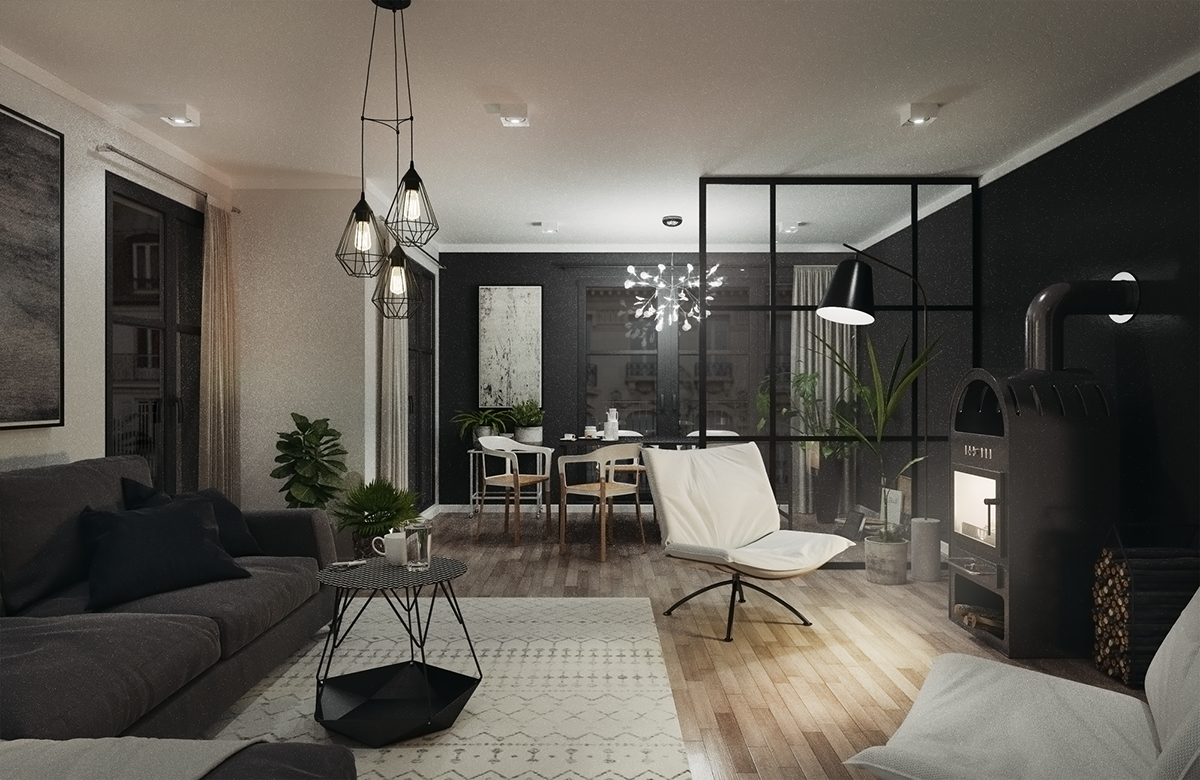 Cozy black living room on Behance
