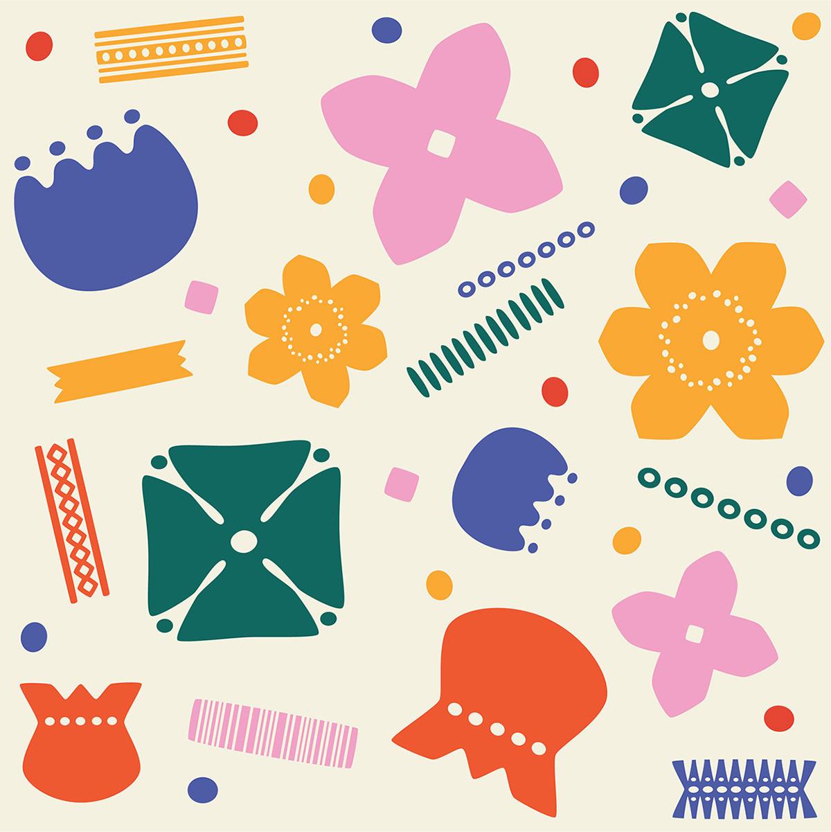 Papercut nordic flower pattern