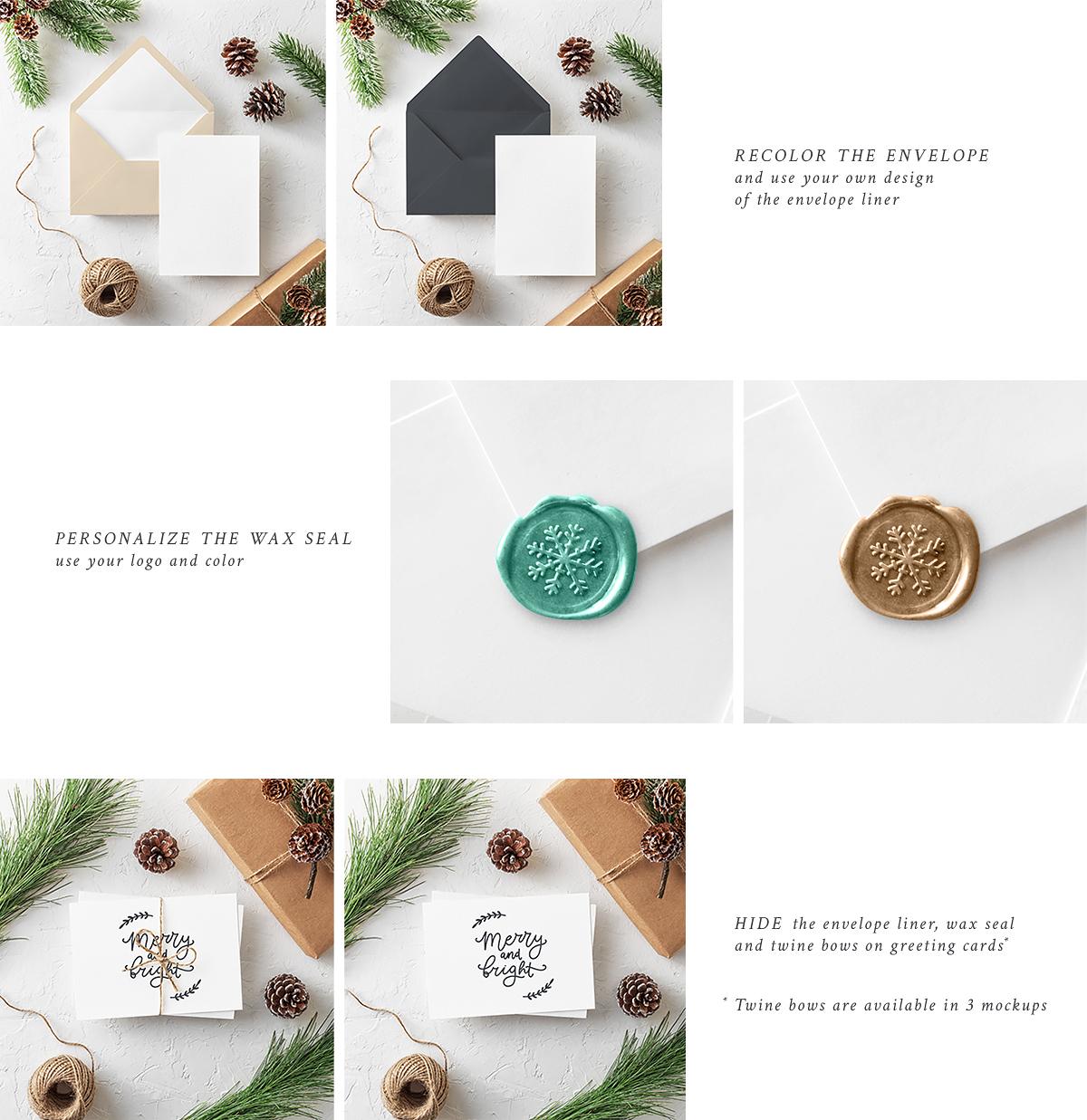 free freebie psd Christmas Mockup mock up card Invitation brand logo