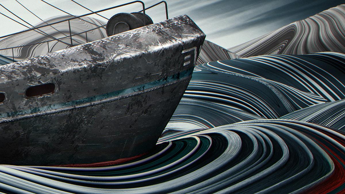 sea ship boat sailing fishing stripes abstract