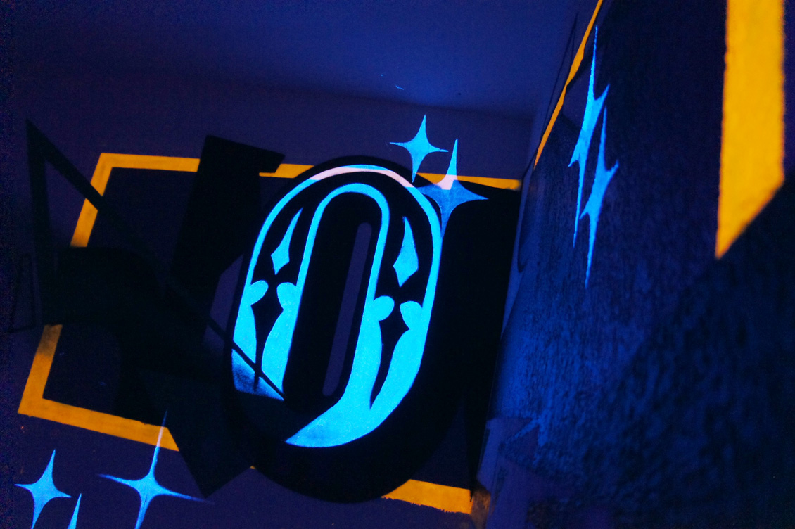 black light for bedroom mattress anamorphic painting with fluor on behance a graphic styled anamorphose painting with special fluor black light effects in a corner of a small bedroom