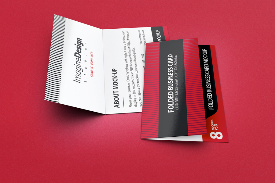 Folded Business Card Mockup V3 on Behance