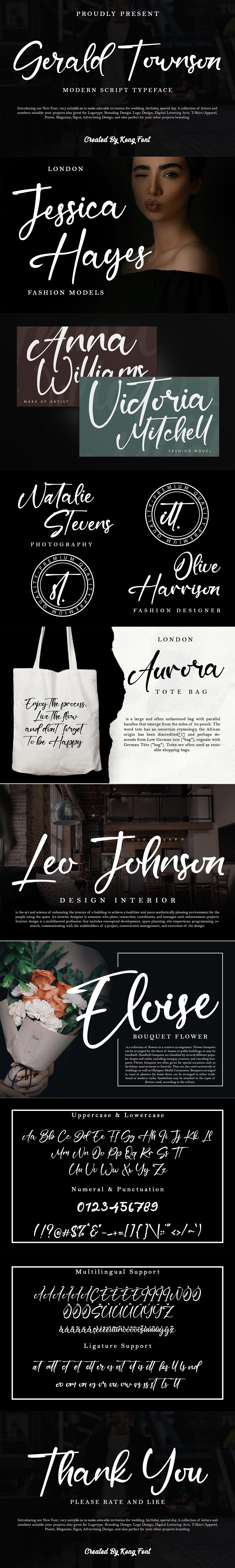 branding  designfont font gerald townson lettering Logotype modern Script Typeface youtubefont