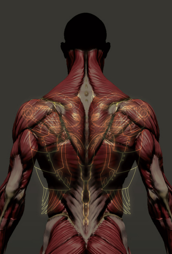 biomechanical wings tattoo on behance, Muscles