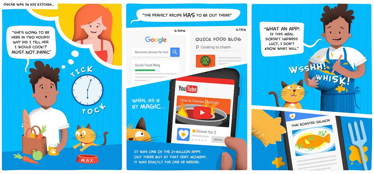 Google Ads App - Comic Book Illustration on Pantone Canvas