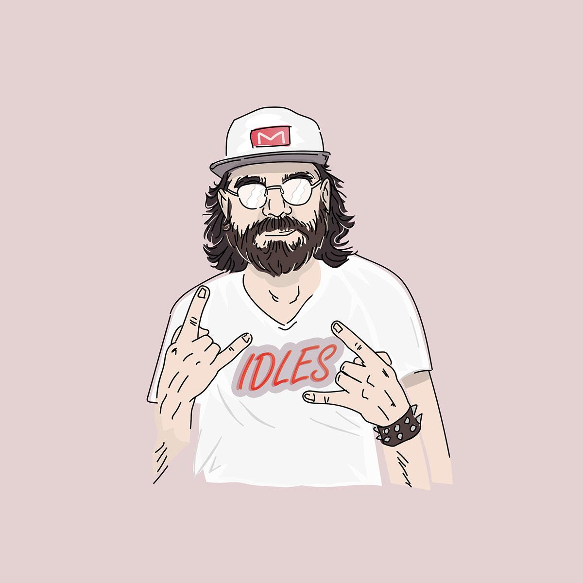 ILLUSTRATION  band Idles franko schiermeyer vector cool Hipster fresh poster beard