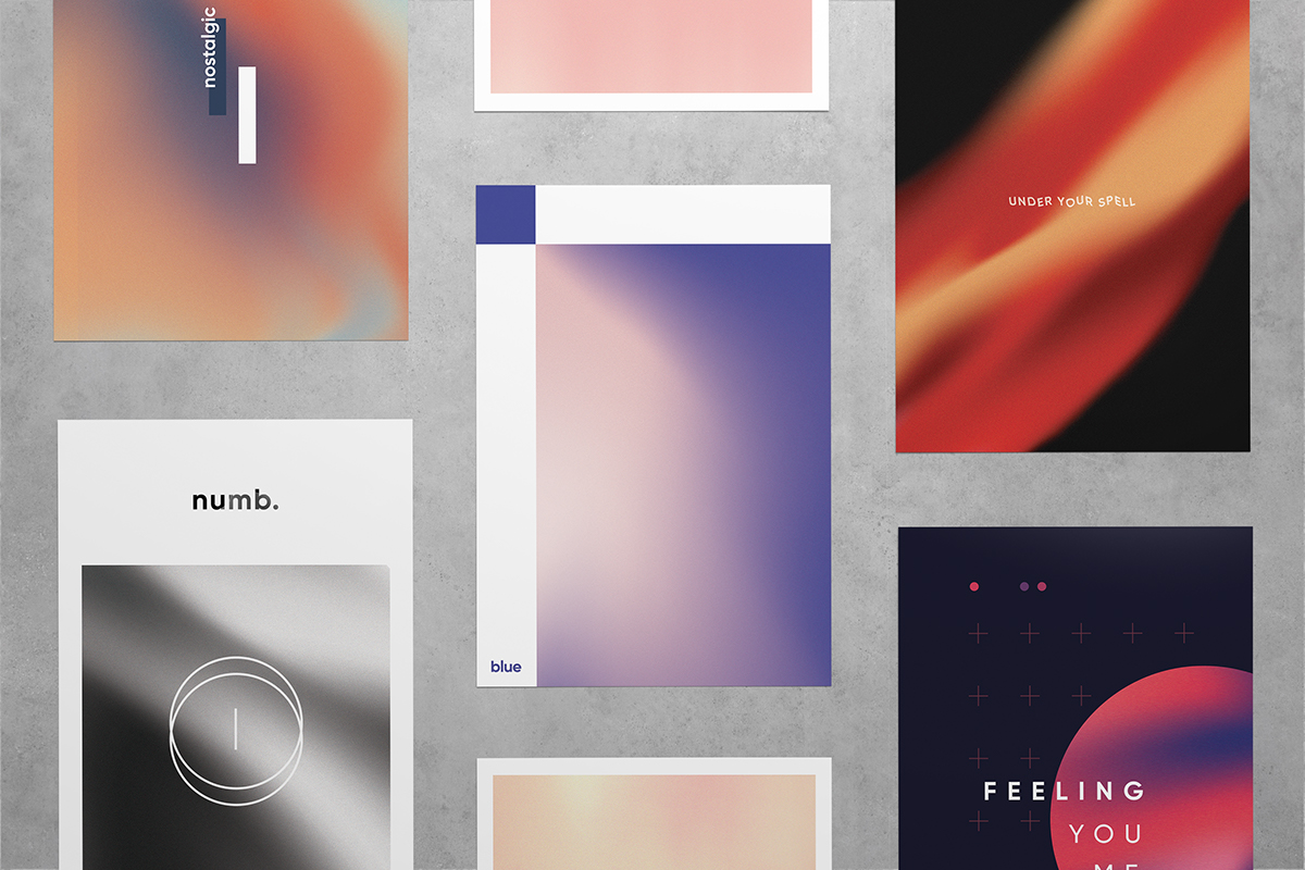 abstract posters gradient minimal emotion design colour typography