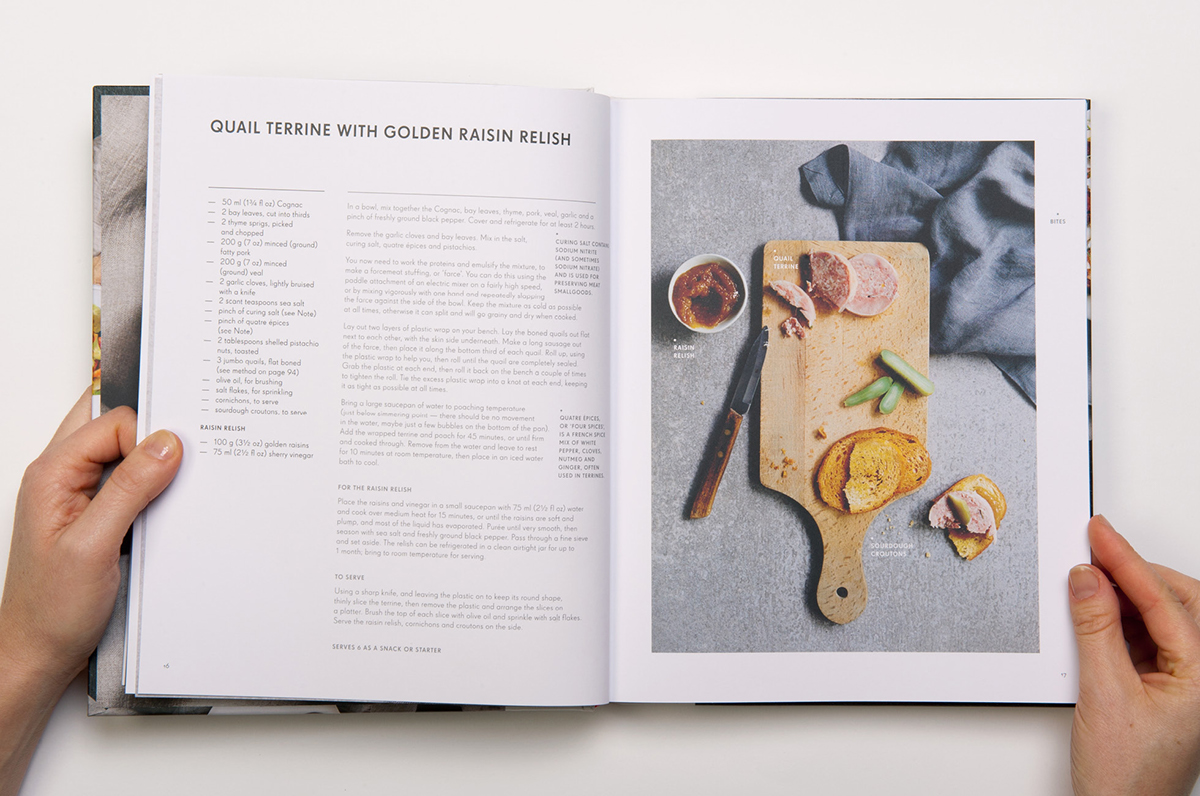 Cook Book recipe book cookbook Huxtable restaurant map layout styling  cloth bound spine typeset table of contents food photography