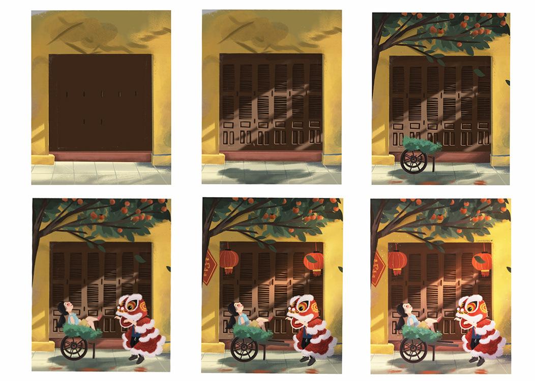 background painting children's book Digital Art  kid Lion Dance Lunar New Year new year vietnam