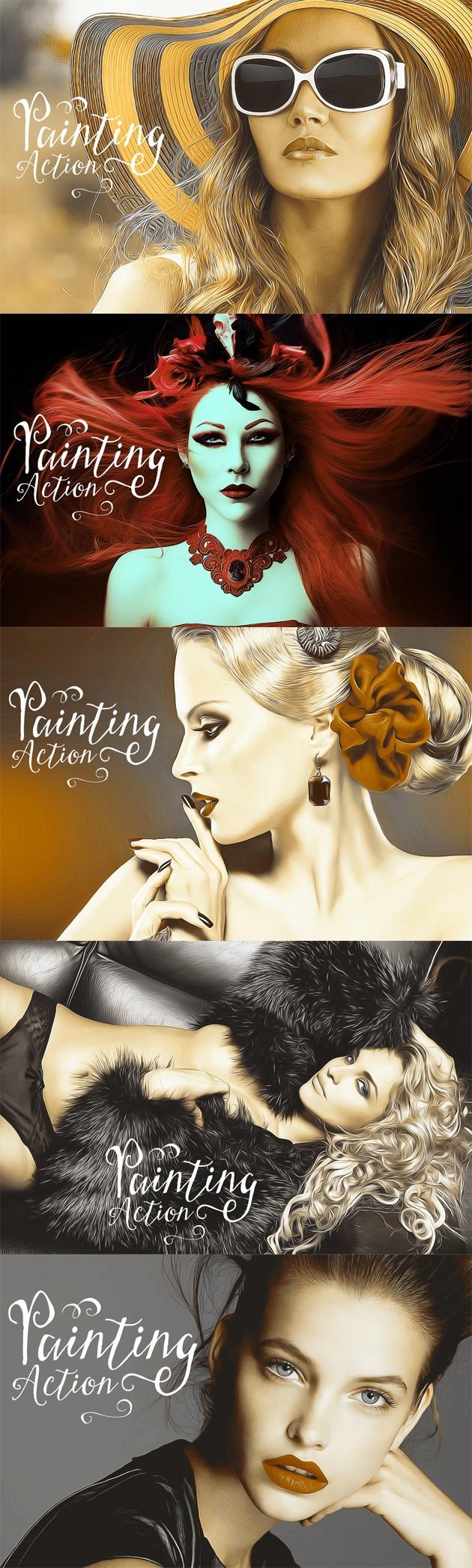 bundle Pack modern action Photo effect popular action art artwork Exposure double double exposure digital panting dry brush Oil Painting