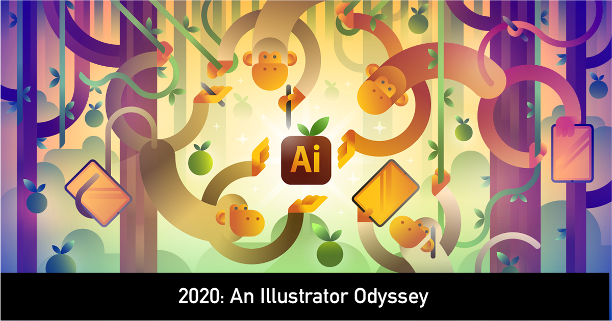 adobecommunity BetaTesting Fruit gradients illustratorontheipad jungle monkeys odyssey
