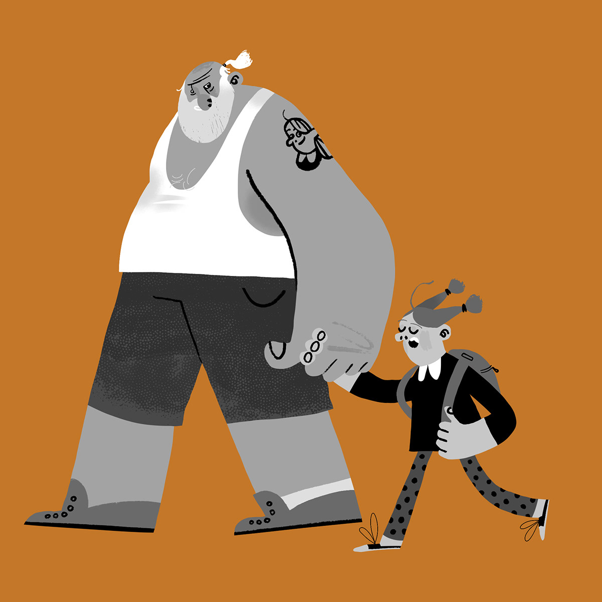 Black&white Character design  characterart characters ILLUSTRATION  old people people Procreate Stylization
