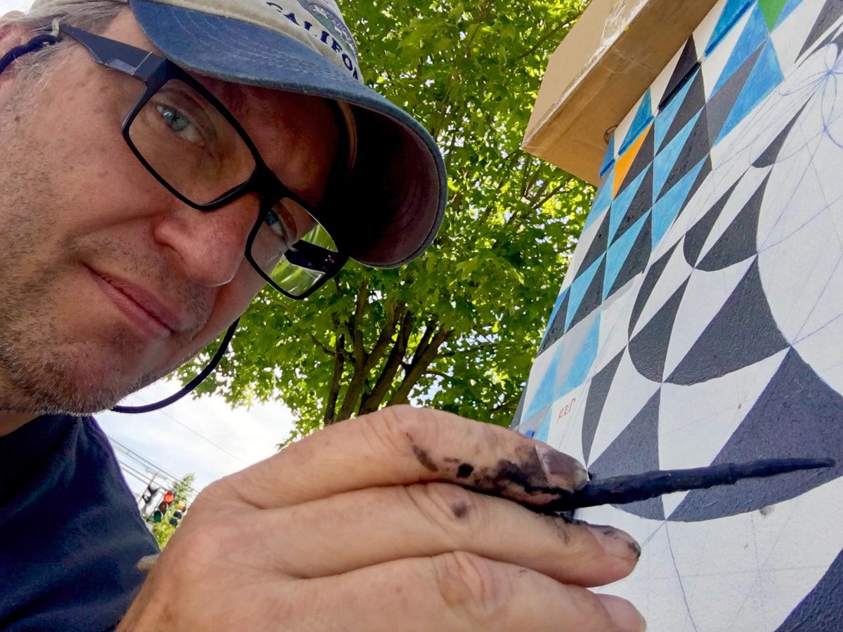 public art outdoor mural geometry Mural Arlington Massachusetts Marek Jacisin acrylic acrylic paint art