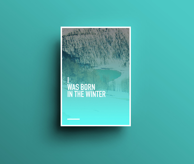 Adobe Portfolio mountain snow winter blue White I LOVE poster design Nature emptiness colors Behance Minimalism minimal Design for life