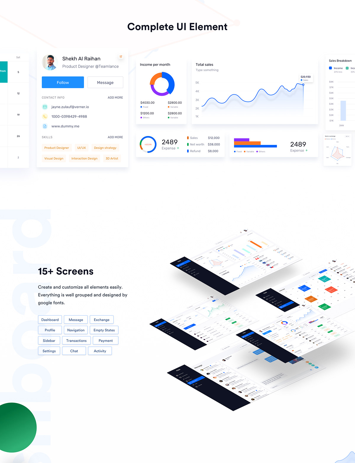 Financial Dashboard UI Kit on Student Show