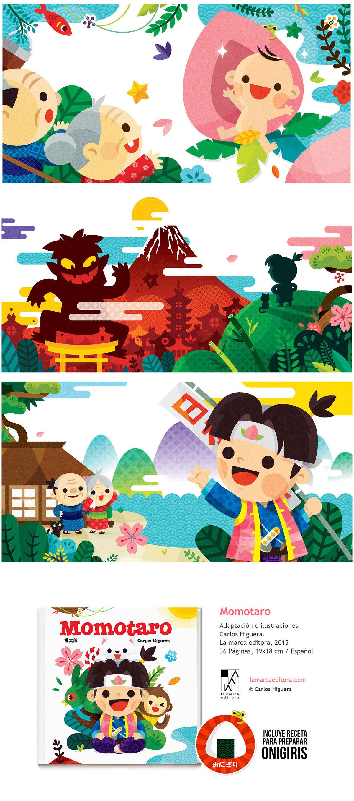 Adobe Portfolio momotaro carloshiguera japan floklore characterdesign ilustracion libro ilustrado kawaii JAPON