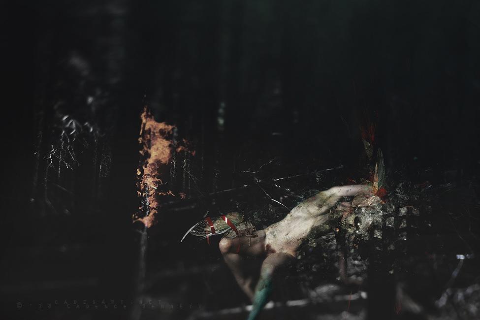 dark photomanipulation forest woods artistic nude woman female skull cicada surreal