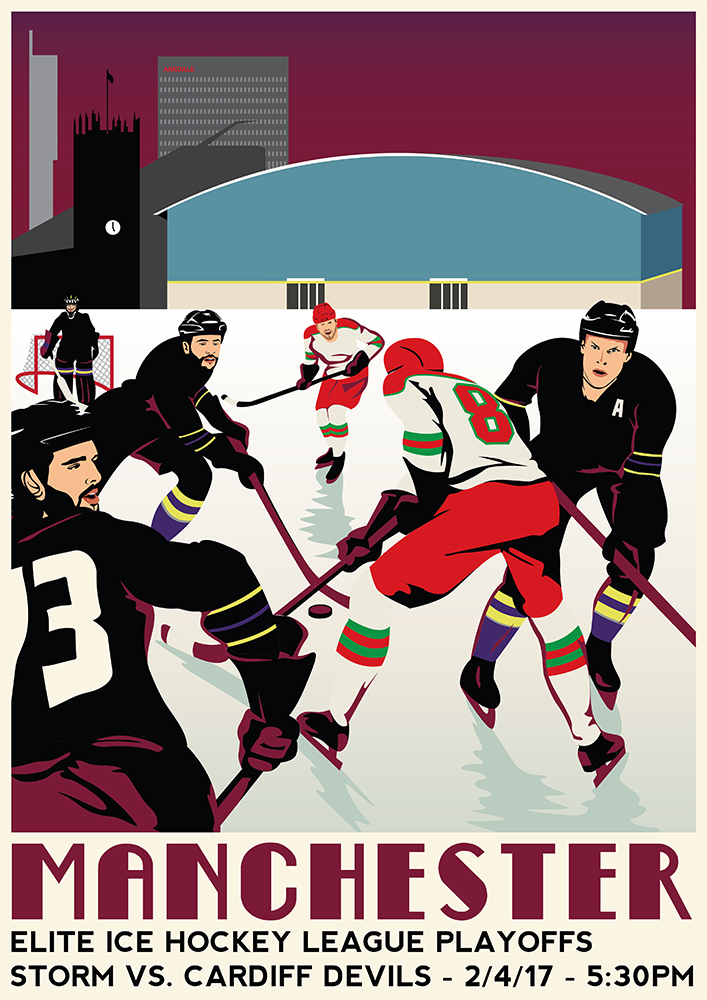 ice hockey travel poster retro travel broders   manchester Manchester Storm UK travel hockey