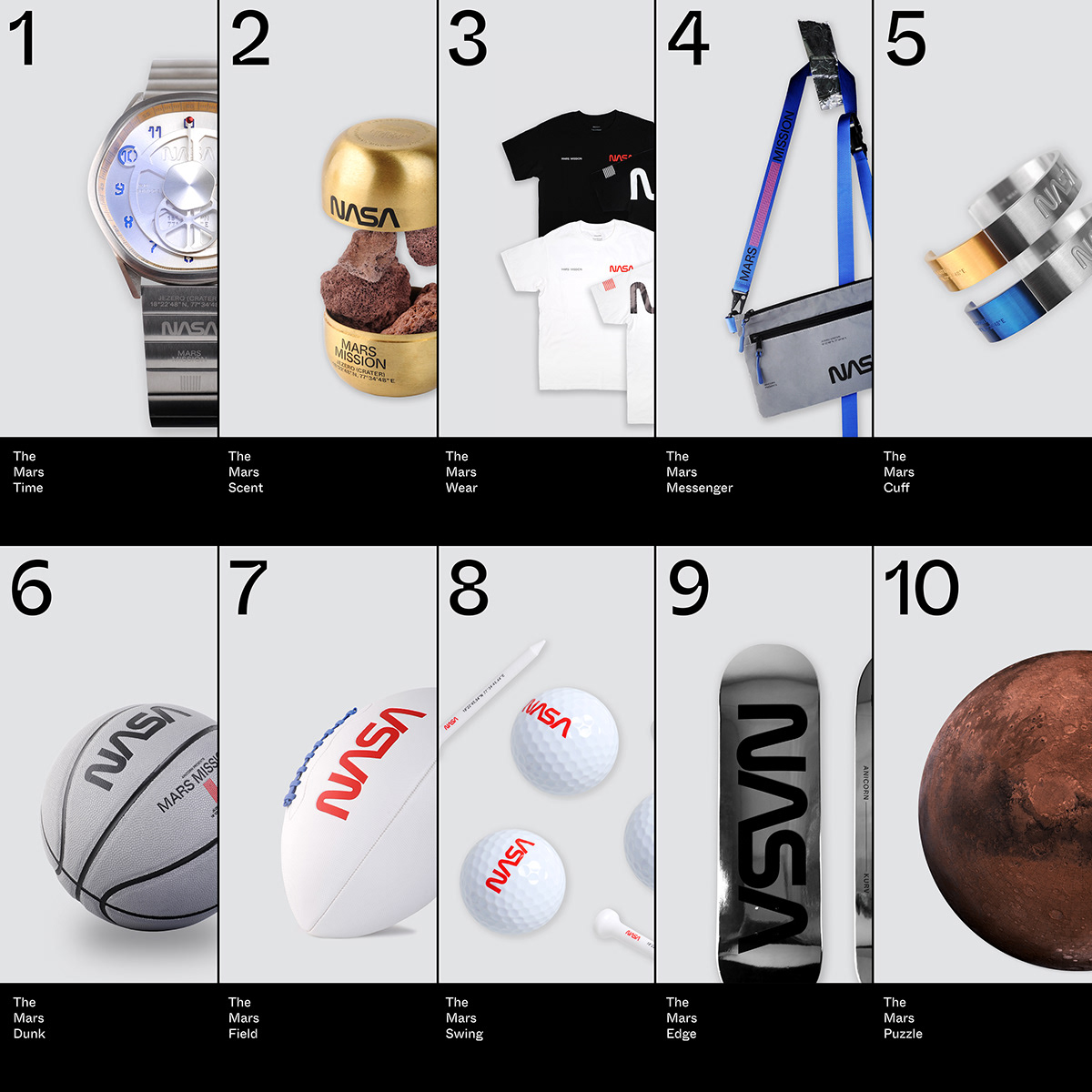The MARS MISSION Collection conceives of 10 items: