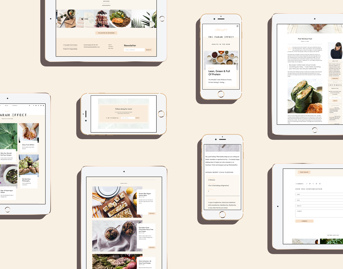 brand identity Website Design health and wellness blog design Nutrition Blog feminine design Feminine brand Identity Design