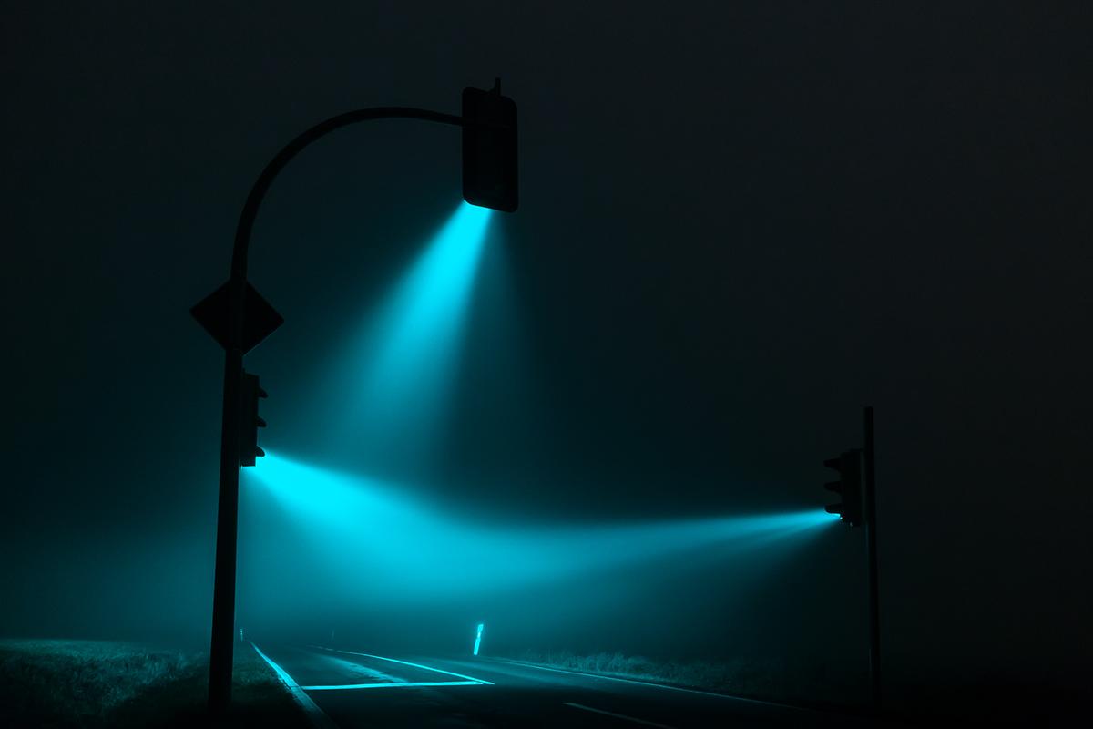 traffic lights,night,visible light,mist,fog,soft light,available light,long exposure,red orange greeen