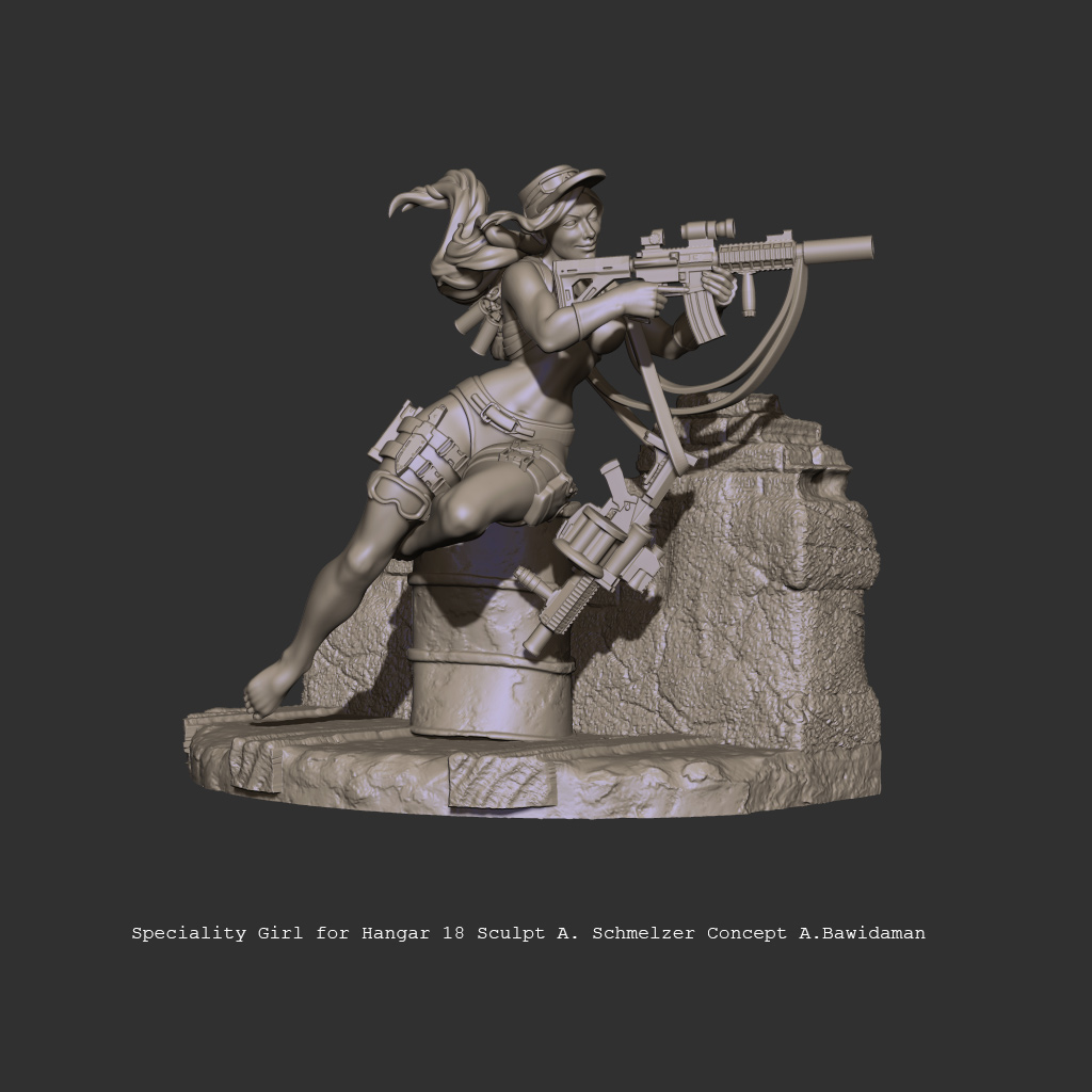 pinup girl Weapon 3d print 3D Character Miniature Sculpt turntable Zbrush figure sexy female cute Beautiful