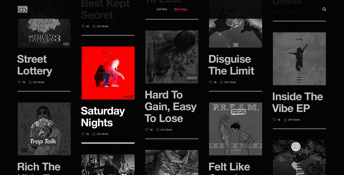 mixtape playlist track black modern