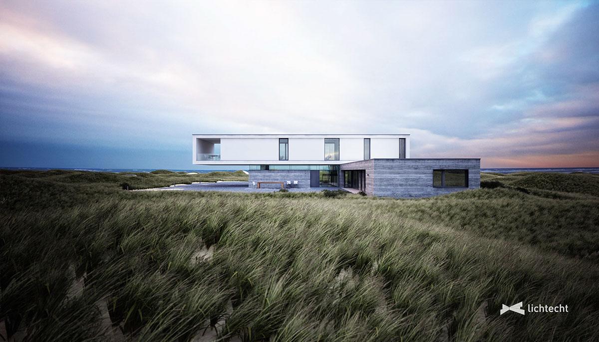 Dune Houae Dünenhaus lichtecht hamburg beach grass Strandhafer concrete North Sea