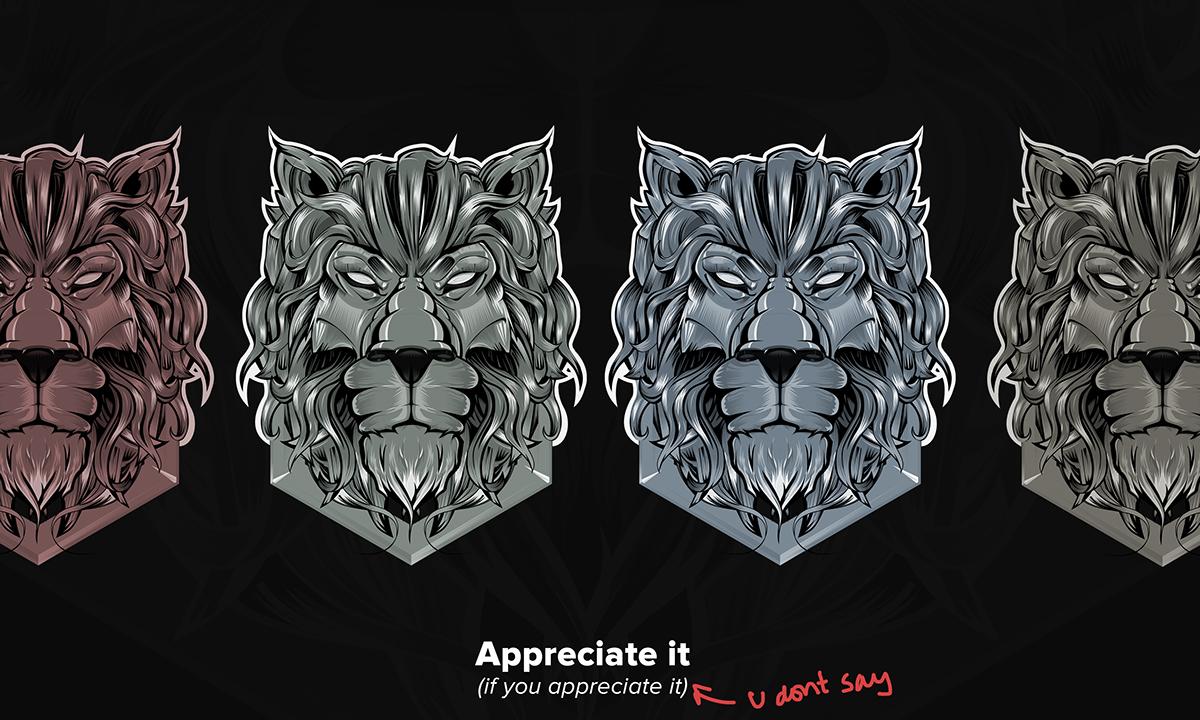 lion Adobe25under25 vector design lines colors bronze metal tatttoo vectorart animal beast
