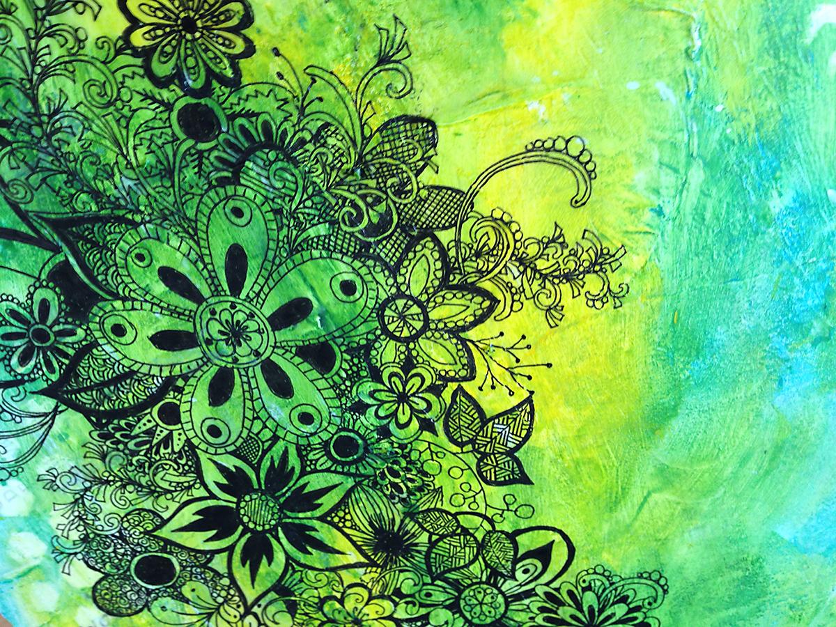 Acrylics Uni Ball Signo White Pen Derwent Inktense Pencils Prismacolor Premiere Colored Stencil Canson Mixed Media Sketchbook