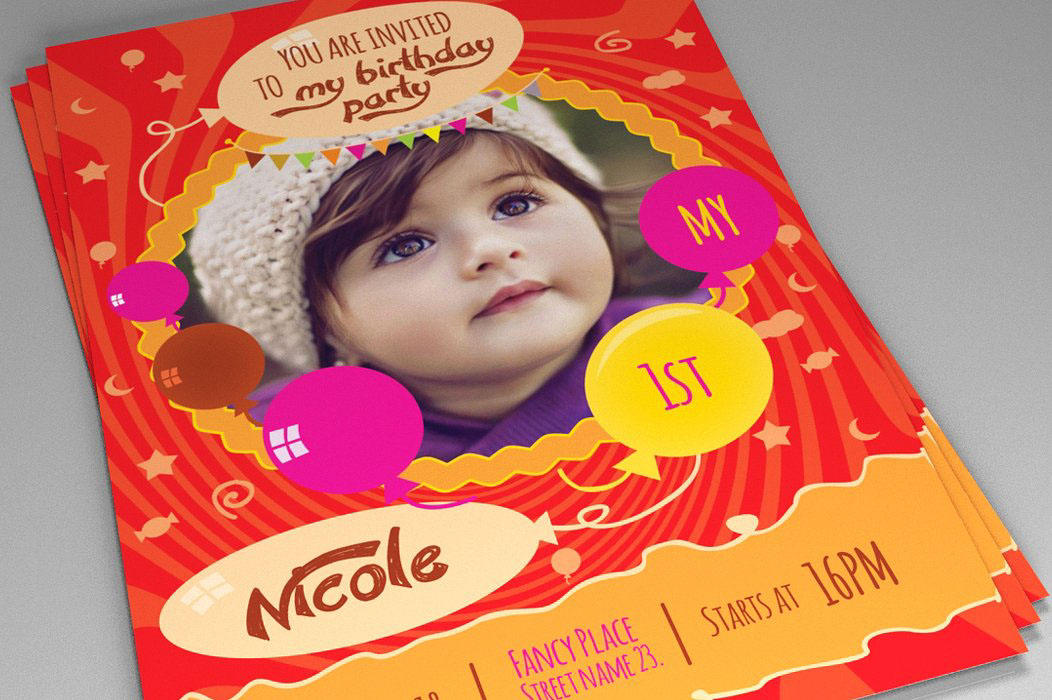 Kids Birthday Invitation Is Created In Adobe Photoshop CS3 It Can Be Used All Newer Versions Of Suitable For And Occasions