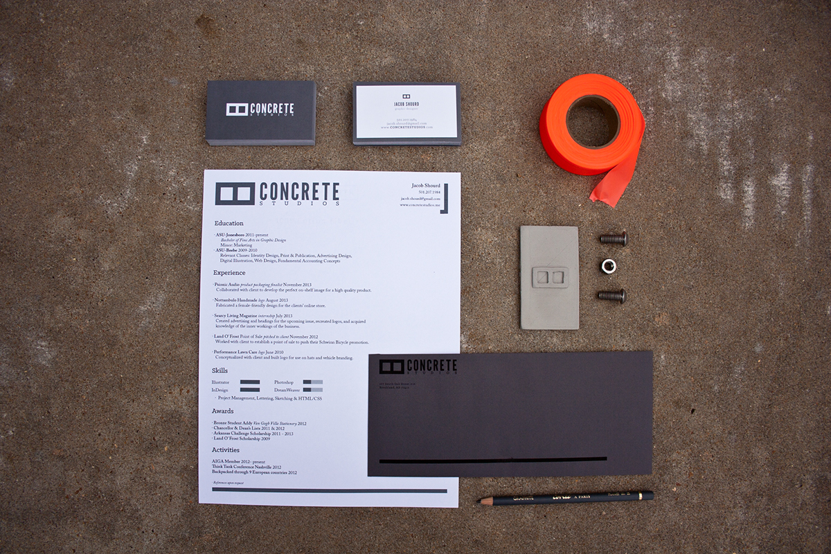 Adobe Portfolio concrete studios identity modern manly