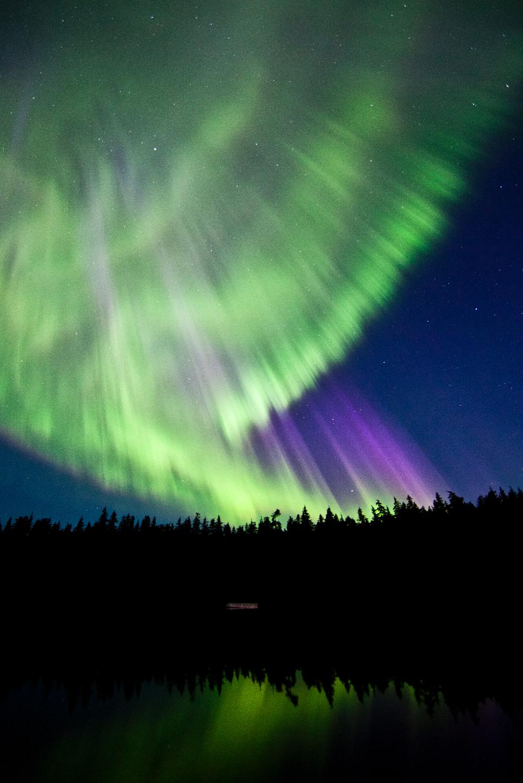 The aurora borealis over Lost Lake, Terrace, BC.