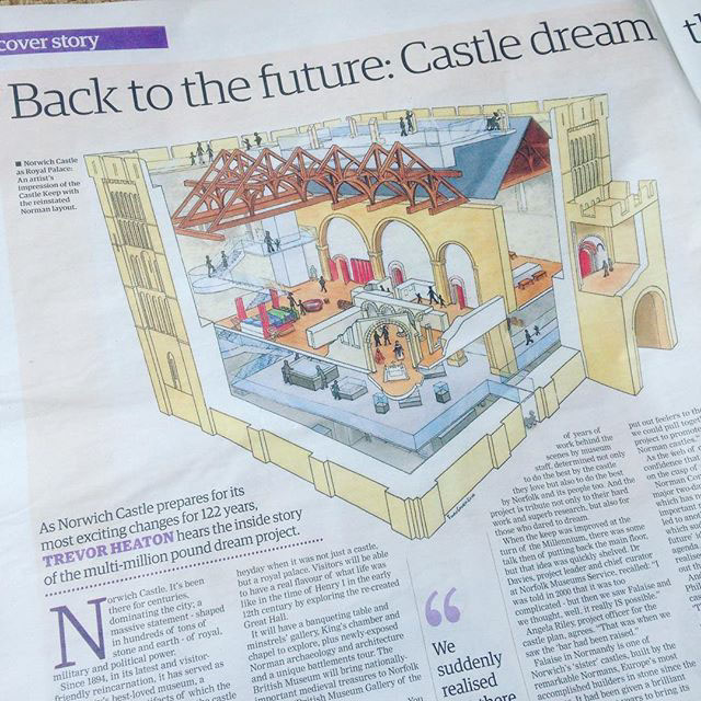 Newspaper article featuring Artists impression of Norwich Castle Keep redevelopment Cut through by Fiona Gowen