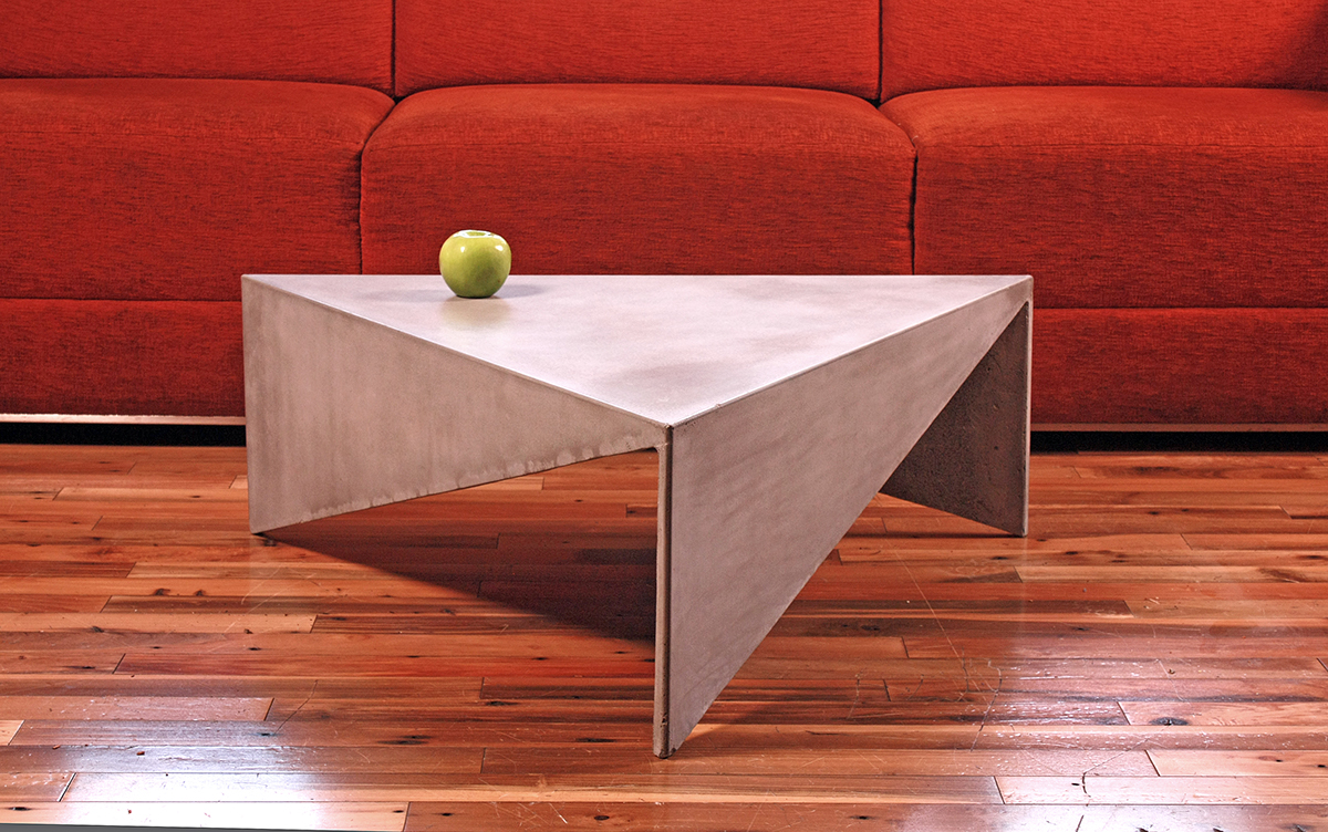 Triangle concrete coffee table on behance